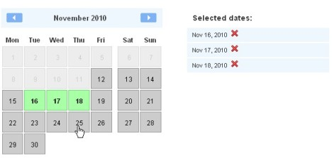 interface for selecting potential meeting dates