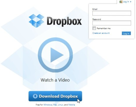 a screenshot of the dropbox home page